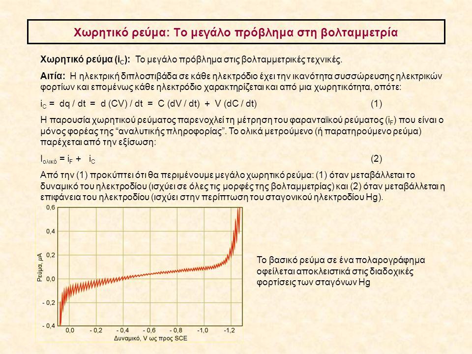 Xωρητικό ρεύμα: Το μεγάλο πρόβλημα στη βολταμμετρία Χωρητικό ρεύμα (i C ): To μεγάλο πρόβλημα στις βολταμμετρικές τεχνικές. Αιτία: Η ηλεκτρική διπλοστ