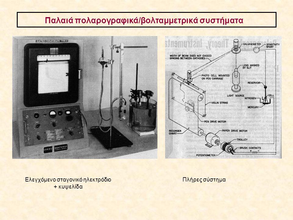 Παλαιά πολαρογραφικά/βολταμμετρικά συστήματα Ελεγχόμενο σταγονικό ηλεκτρόδιο + κυψελίδα Πλήρες σύστημα