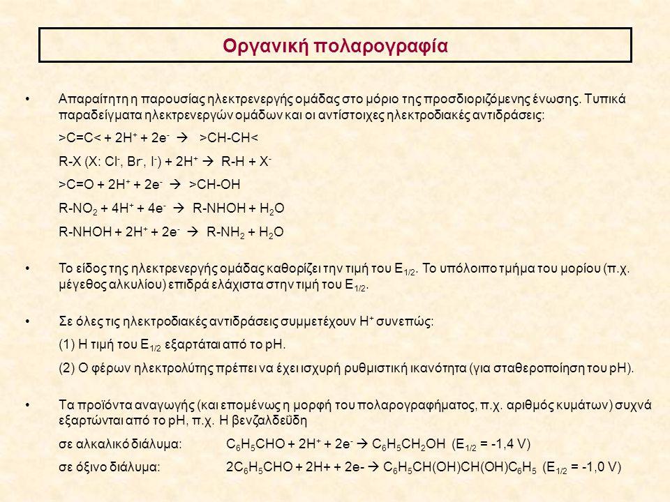Απαραίτητη η παρουσίας ηλεκτρενεργής ομάδας στο μόριο της προσδιοριζόμενης ένωσης. Tυπικά παραδείγματα ηλεκτρενεργών ομάδων και οι αντίστοιχες ηλεκτρο