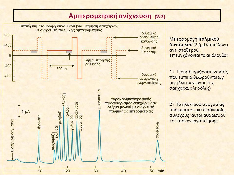 Αμπερομετρική ανίχνευση (2/3) Με εφαρμογή παλμικού δυναμικού (2 ή 3 επιπέδων) αντί σταθερού, επιτυγχάνονται τα ακόλουθα: 1) Προσδιορίζονται ενώσεις πο