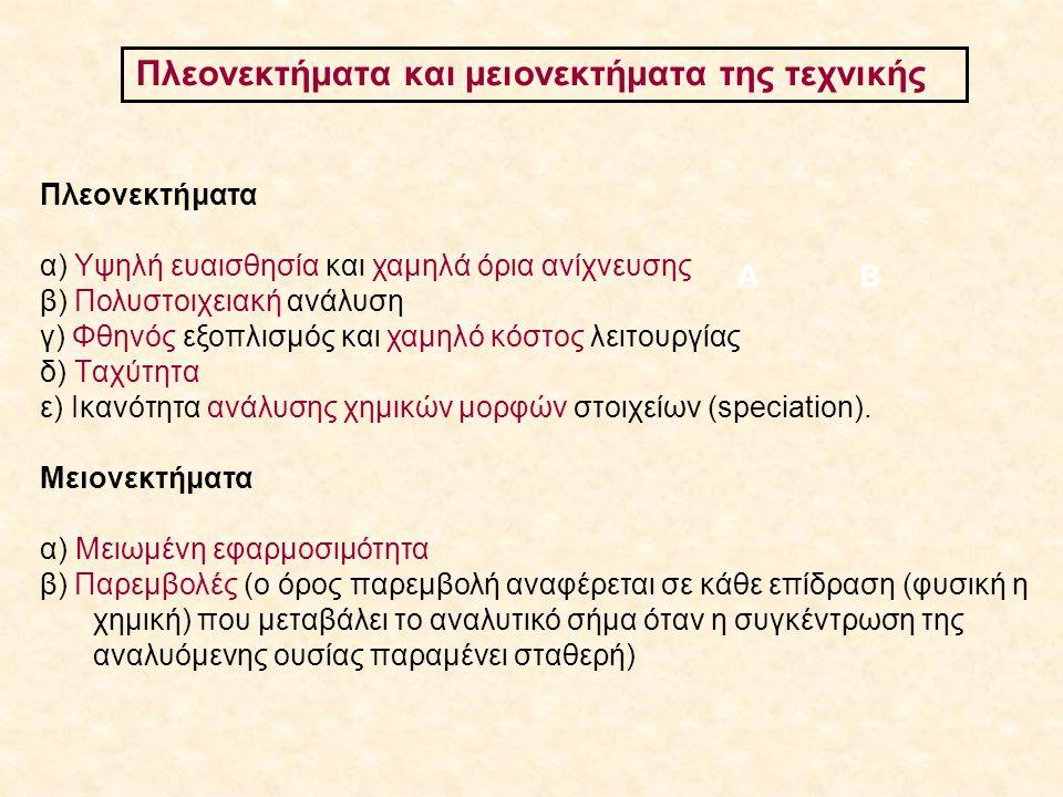 Πλεονεκτήματα και μειονεκτήματα της τεχνικής ΑΒ Πλεονεκτήματα α) Υψηλή ευαισθησία και χαμηλά όρια ανίχνευσης β) Πολυστοιχειακή ανάλυση γ) Φθηνός εξοπλ