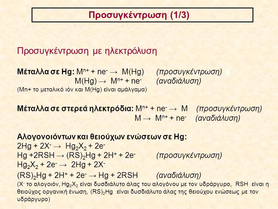 Προσυγκέντρωση (1/3) ΑΒ Προσυγκέντρωση με ηλεκτρόλυση Μέταλλα σε Hg: M n+ + ne - → M(Hg)(προσυγκέντρωση) M(Hg) → M n+ + ne - (αναδιάλυση) (Mn+ το μετα