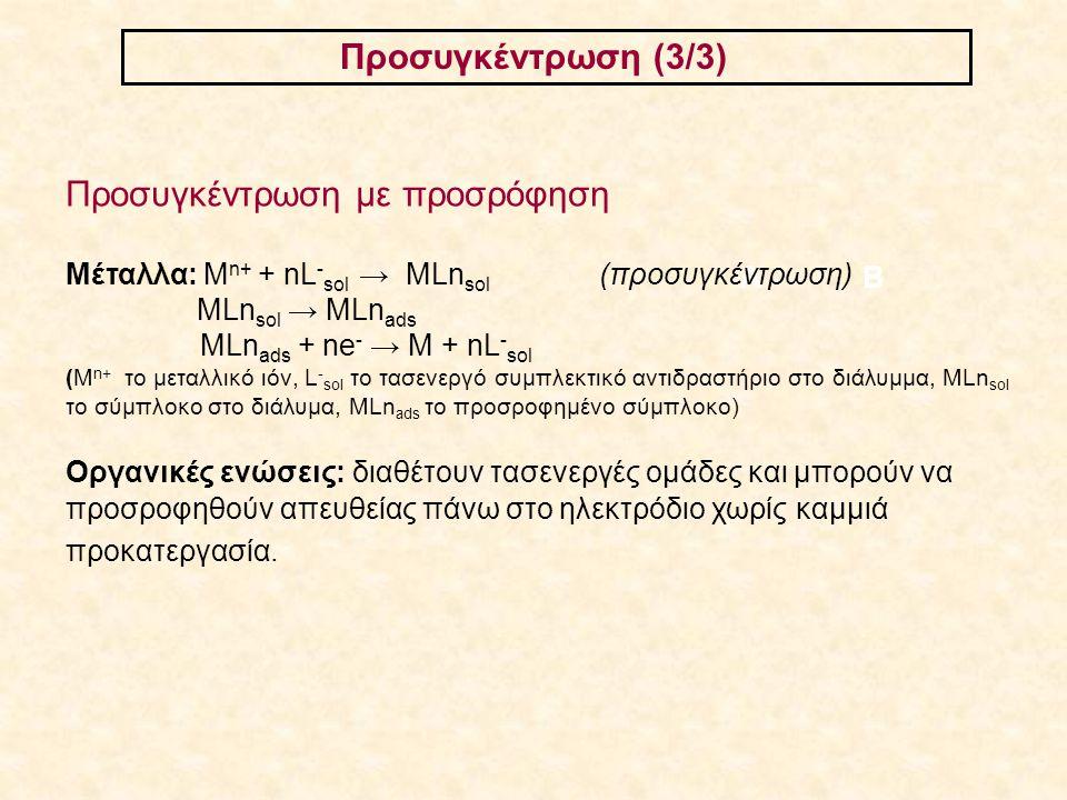 Προσυγκέντρωση (3/3) ΑΒ Προσυγκέντρωση με προσρόφηση Μέταλλα: M n+ + nL - sol → MLn sol (προσυγκέντρωση) MLn sol → MLn ads MLn ads + ne - → M + nL - s