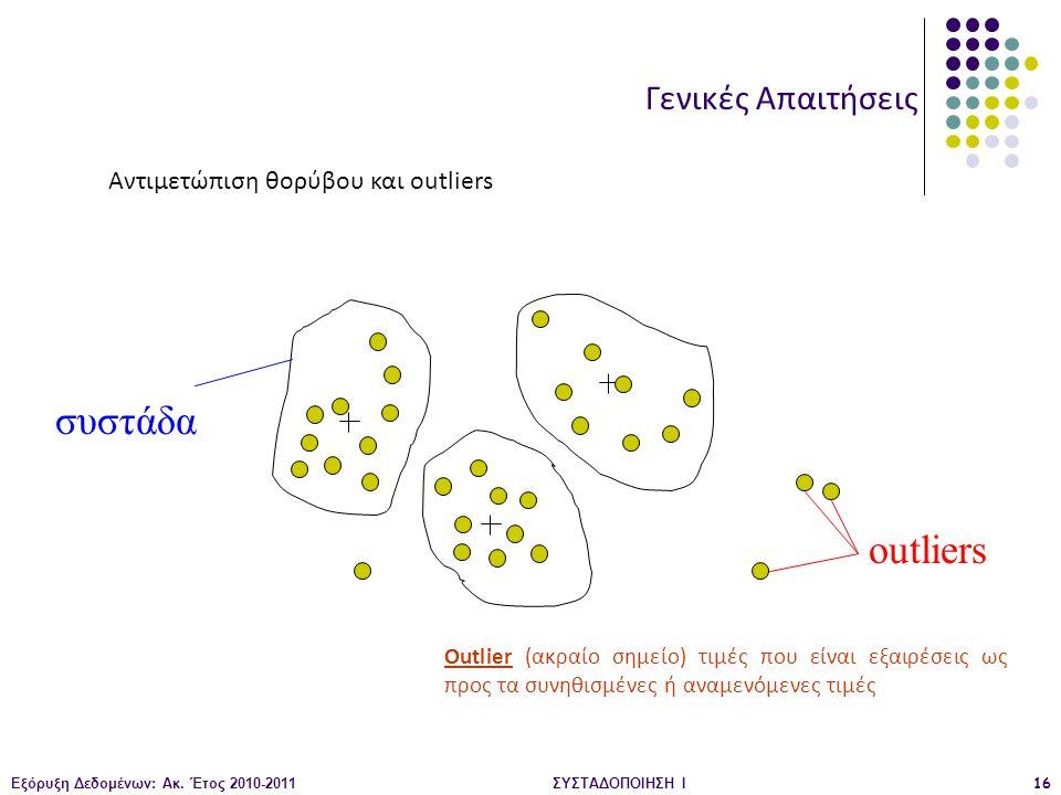 Εξόρυξη Δεδομένων: Ακ. Έτος 2010-2011ΣΥΣΤΑΔΟΠΟΙΗΣΗ Ι16 συστάδα outliers Γενικές Απαιτήσεις Αντιμετώπιση θορύβου και outliers Outlier (ακραίο σημείο) τ