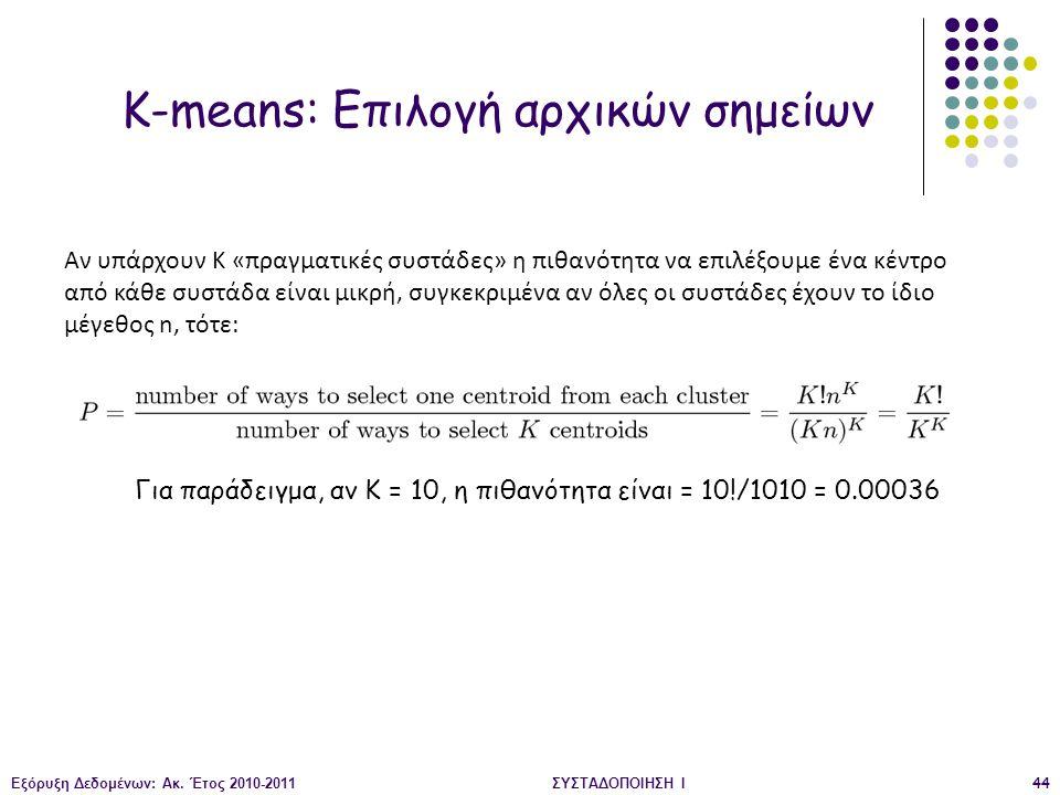 Εξόρυξη Δεδομένων: Ακ. Έτος 2010-2011ΣΥΣΤΑΔΟΠΟΙΗΣΗ Ι44 K-means: Επιλογή αρχικών σημείων Αν υπάρχουν K «πραγματικές συστάδες» η πιθανότητα να επιλέξουμ