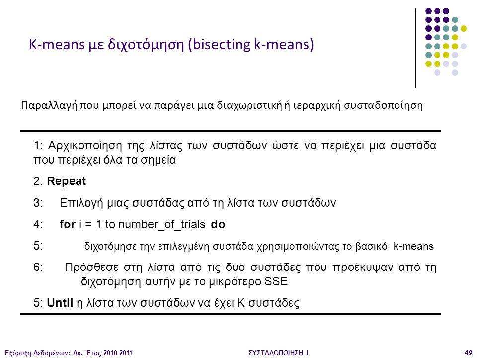 Εξόρυξη Δεδομένων: Ακ. Έτος 2010-2011ΣΥΣΤΑΔΟΠΟΙΗΣΗ Ι49 1: Αρχικοποίηση της λίστας των συστάδων ώστε να περιέχει μια συστάδα που περιέχει όλα τα σημεία
