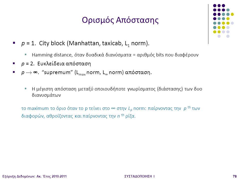 Εξόρυξη Δεδομένων: Ακ. Έτος 2010-2011ΣΥΣΤΑΔΟΠΟΙΗΣΗ Ι78  p = 1. City block (Manhattan, taxicab, L 1 norm).  Hamming distance, όταν δυαδικά διανύσματα