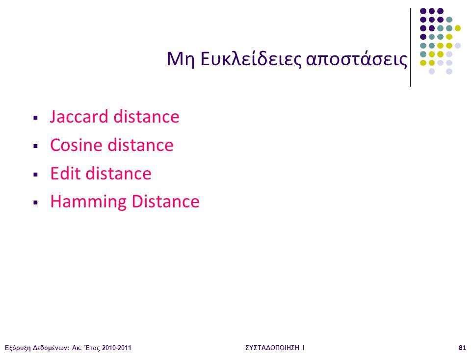 Εξόρυξη Δεδομένων: Ακ. Έτος 2010-2011ΣΥΣΤΑΔΟΠΟΙΗΣΗ Ι81 Μη Ευκλείδειες αποστάσεις  Jaccard distance  Cosine distance  Edit distance  Hamming Distan