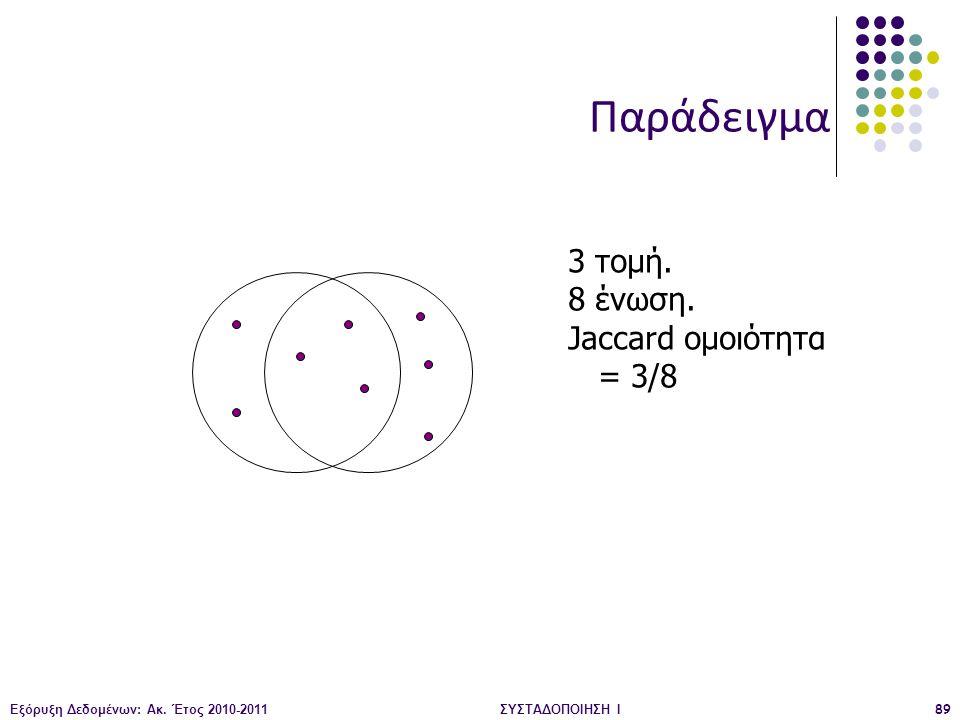Εξόρυξη Δεδομένων: Ακ. Έτος 2010-2011ΣΥΣΤΑΔΟΠΟΙΗΣΗ Ι89 3 τομή. 8 ένωση. Jaccard ομοιότητα = 3/8 Παράδειγμα