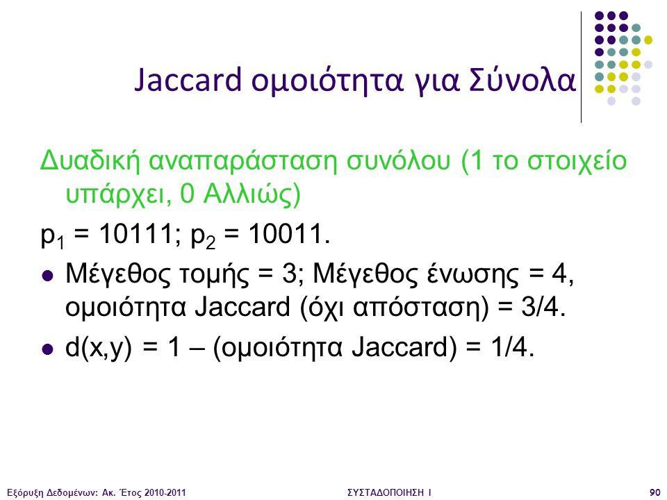Εξόρυξη Δεδομένων: Ακ. Έτος 2010-2011ΣΥΣΤΑΔΟΠΟΙΗΣΗ Ι90 Δυαδική αναπαράσταση συνόλου (1 το στοιχείο υπάρχει, 0 Αλλιώς) p 1 = 10111; p 2 = 10011. Μέγεθο