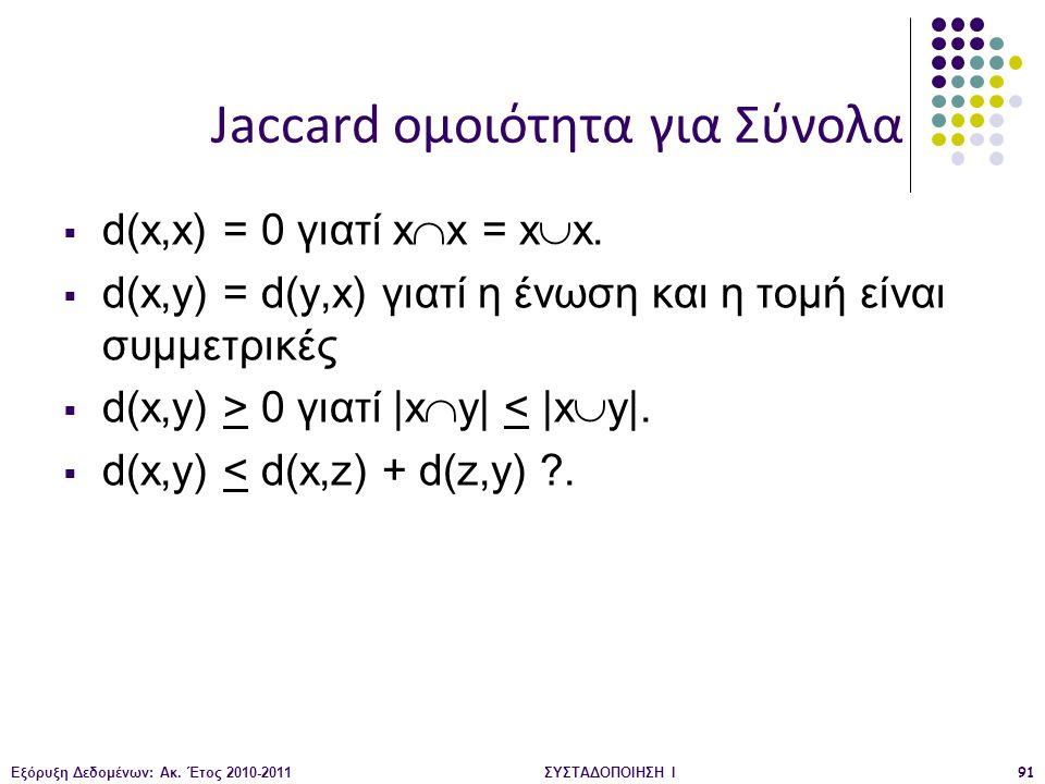Εξόρυξη Δεδομένων: Ακ. Έτος 2010-2011ΣΥΣΤΑΔΟΠΟΙΗΣΗ Ι91  d(x,x) = 0 γιατί x  x = x  x.  d(x,y) = d(y,x) γιατί η ένωση και η τομή είναι συμμετρικές