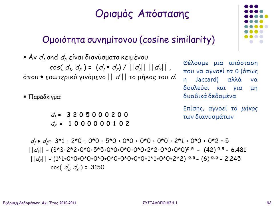 Εξόρυξη Δεδομένων: Ακ. Έτος 2010-2011ΣΥΣΤΑΔΟΠΟΙΗΣΗ Ι92  Αν d 1 and d 2 είναι διανύσματα κειμένου cos( d 1, d 2 ) = (d 1  d 2 ) / ||d 1 || ||d 2 ||,