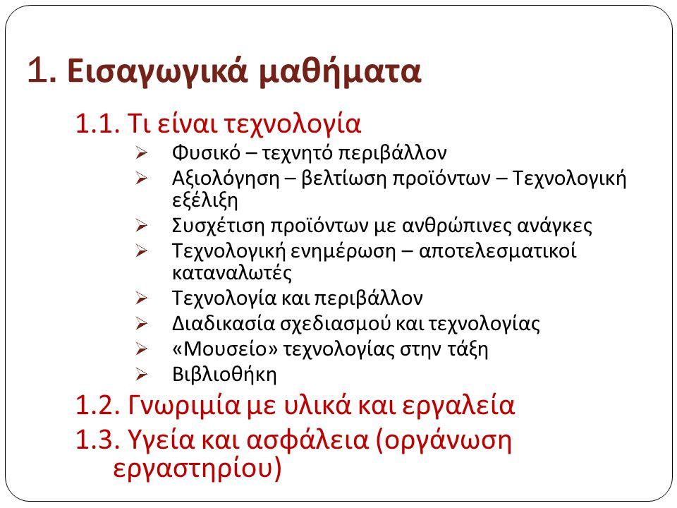 1.Εισαγωγικά μαθήματα 1.1.