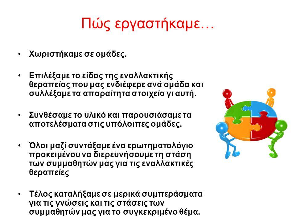 Βιβλιογραφία http://www.artofwise.gr/html/categories_content/therapeies/aromatotherapeia.html http://www.aromahealing.gr/servicedet.asp?id=2 http://gynaika.gr/aitheria-elaia-idiotites-kai-xrisi-aromatotherapeia/ http://aitheria-elea.blogspot.gr http://www.skepdic.gr http://www.in2life.gr http://www.iama.gr http://www.inews.gr http://www.dietaclub.gr/velonism http://www.iatrikosbelonismos.gr/howorks.html http://www.holistic-greece.com http://www.holistic-greece.com/page/0/21/belonismos/ http://www.google.gr/belonismos/imagehttp://www.google.gr/belonismos/image Ο δρόμος του βελονισμού Μιλτιάδης Γ.