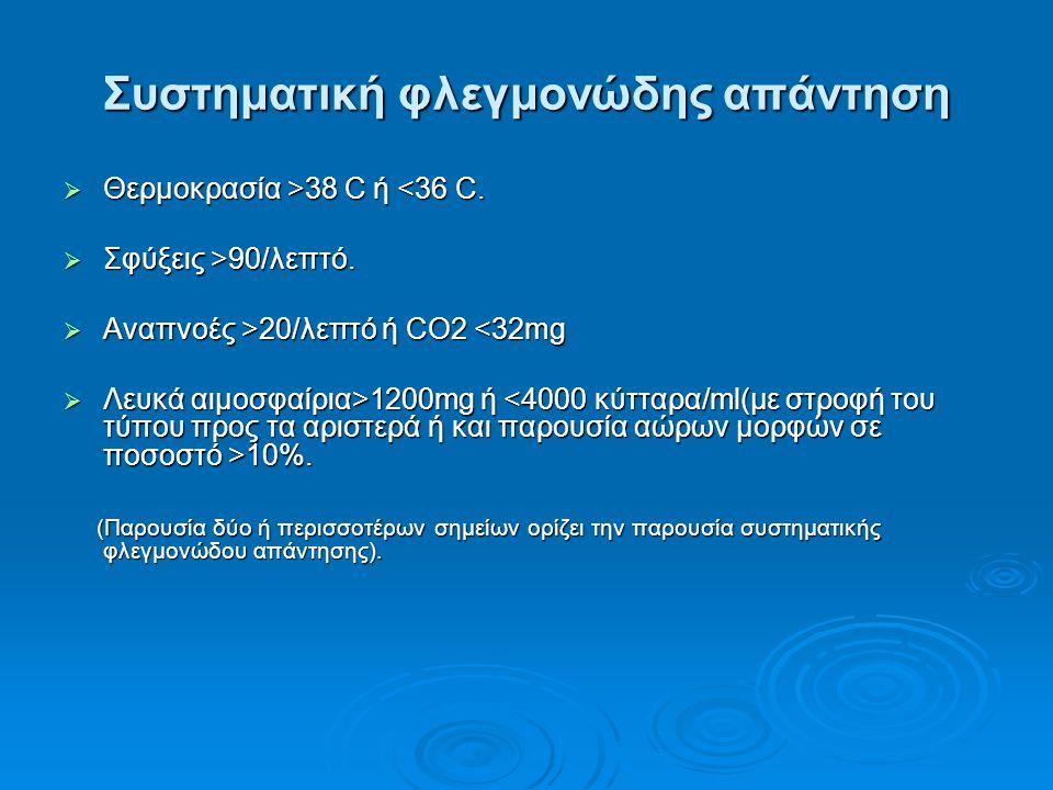Συστηματική φλεγμονώδης απάντηση  Θερμοκρασία >38 C ή 38 C ή <36 C.  Σφύξεις >90/λεπτό.  Αναπνοές >20/λεπτό ή CO2 20/λεπτό ή CO2 <32mg  Λευκά αιμο