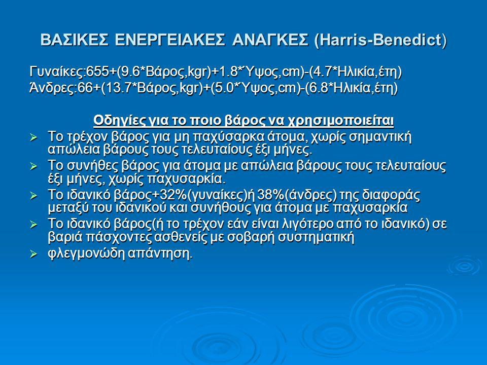 BAΣΙΚΕΣ ΕΝΕΡΓΕΙΑΚΕΣ ΑΝΑΓΚΕΣ (Harris-Benedict) Γυναίκες:655+(9.6*Βάρος,kgr)+1.8*Ύψος,cm)-(4.7*Ηλικία,έτη)Άνδρες:66+(13.7*Βάρος,kgr)+(5.0*Ύψος,cm)-(6.8*