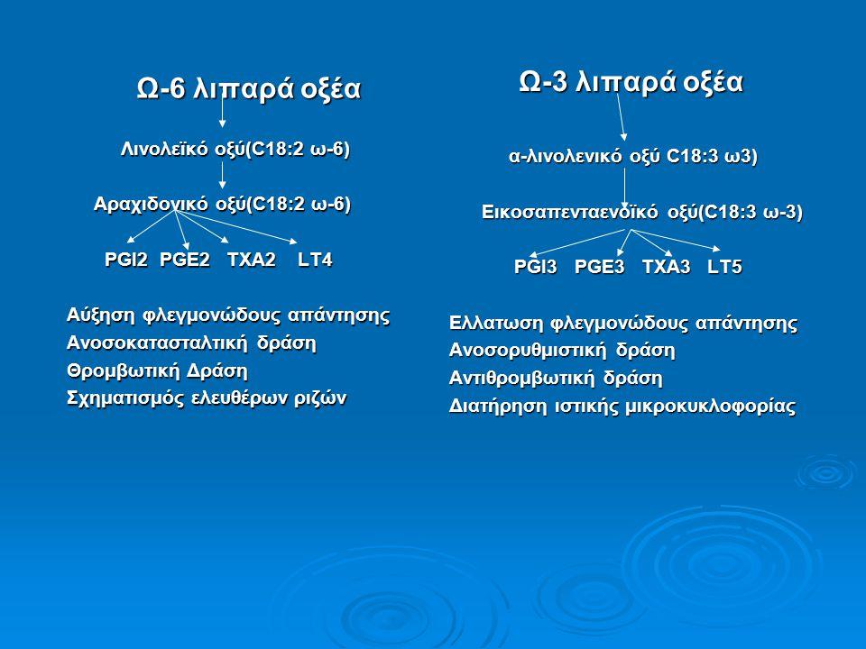 Ω-6 λιπαρά οξέα Λινολεϊκό οξύ(C18:2 ω-6) Λινολεϊκό οξύ(C18:2 ω-6) Αραχιδονικό οξύ(C18:2 ω-6) Αραχιδονικό οξύ(C18:2 ω-6) PGI2 PGE2 TXA2 LT4 PGI2 PGE2 T