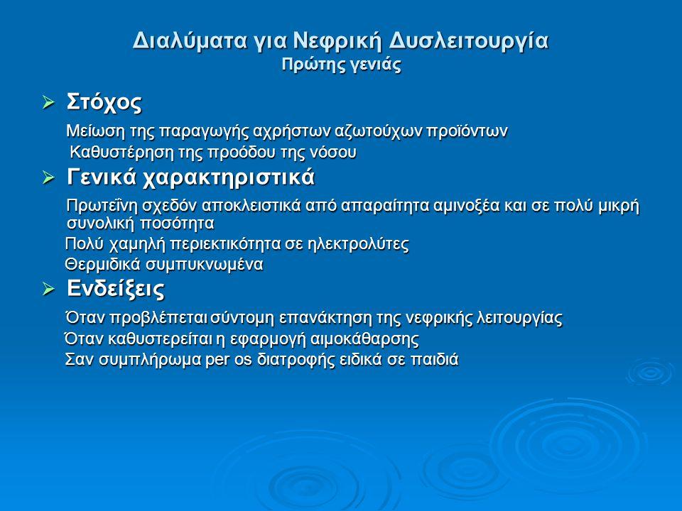 Διαλύματα για Νεφρική Δυσλειτουργία Πρώτης γενιάς  Στόχος Μείωση της παραγωγής αχρήστων αζωτούχων προϊόντων Μείωση της παραγωγής αχρήστων αζωτούχων π