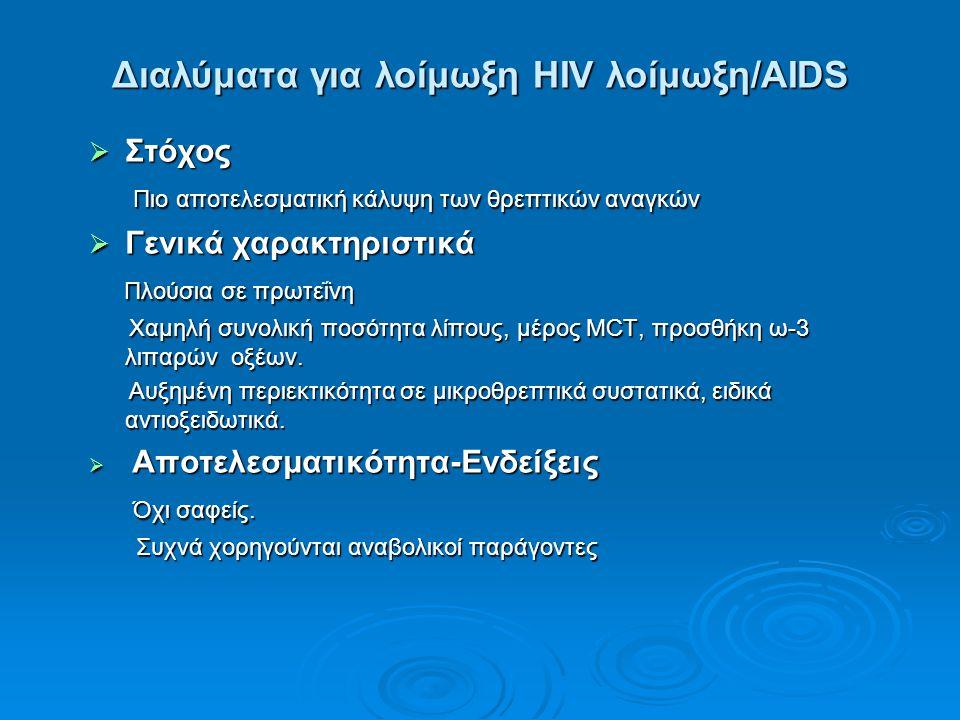 Διαλύματα για λοίμωξη HIV λοίμωξη/AIDS  Στόχος Πιο αποτελεσματική κάλυψη των θρεπτικών αναγκών Πιο αποτελεσματική κάλυψη των θρεπτικών αναγκών  Γενι