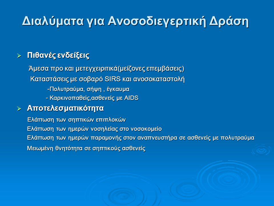 Διαλύματα για Ανοσοδιεγερτική Δράση  Πιθανές ενδείξεις Άμεσα προ και μετεγχειριτικά(μείζονες επεμβάσεις) Άμεσα προ και μετεγχειριτικά(μείζονες επεμβά