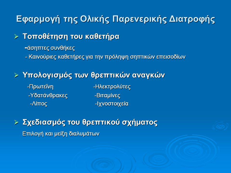 Εφαρμογή της Ολικής Παρενερικής Διατροφής  Τοποθέτηση του καθετήρα - άσηπτες συνθήκες - άσηπτες συνθήκες - Καινούριες καθετήρες για την πρόληψη σηπτι