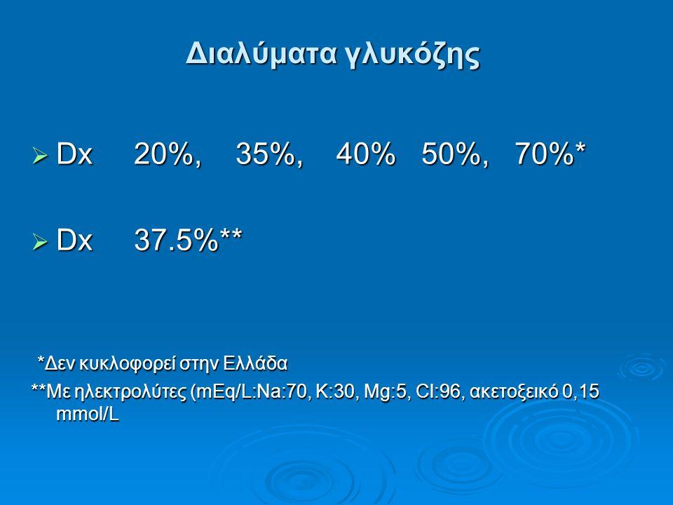 Διαλύματα γλυκόζης  Dx 20%, 35%, 40% 50%, 70%*  Dx 37.5%** *Δεν κυκλοφορεί στην Ελλάδα *Δεν κυκλοφορεί στην Ελλάδα **Με ηλεκτρολύτες (mEq/L:Na:70, K
