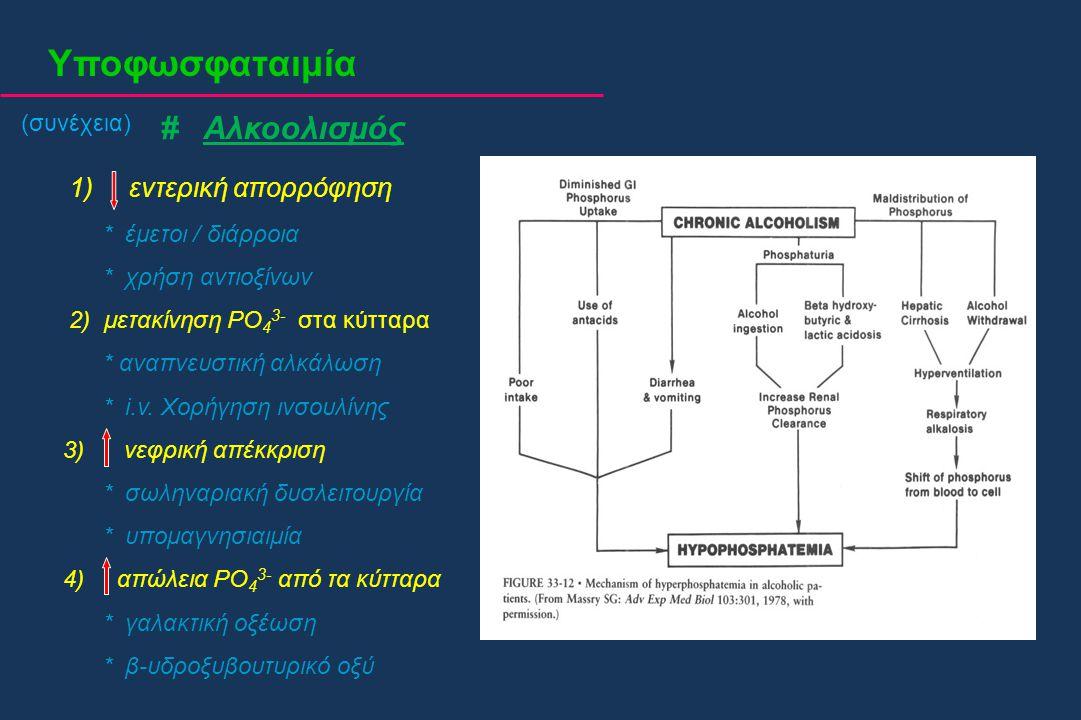 Υποφωσφαταιμία (συνέχεια) # Αλκοολισμός 1) εντερική απορρόφηση * έμετοι / διάρροια * χρήση αντιοξίνων 2) μετακίνηση PO 4 3- στα κύτταρα * αναπνευστική