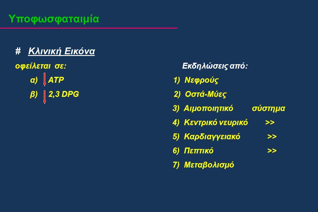 # Κλινική Εικόνα οφείλεται σε: Εκδηλώσεις από: α) ATP 1) Νεφρούς β) 2,3 DPG 2) Οστά-Μύες 3) Αιμοποιητικό σύστημα 4) Κεντρικό νευρικό >> 5) Καρδιαγγεια