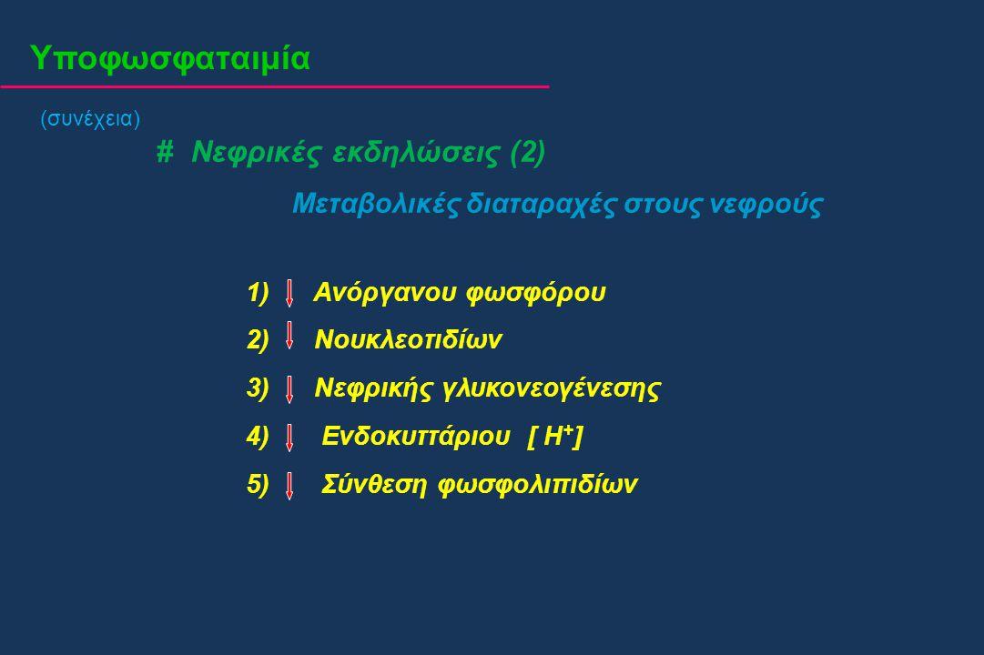 Υποφωσφαταιμία # Νεφρικές εκδηλώσεις (2) Μεταβολικές διαταραχές στους νεφρούς 1) Ανόργανου φωσφόρου 2) Νουκλεοτιδίων 3) Νεφρικής γλυκονεογένεσης 4) Εν