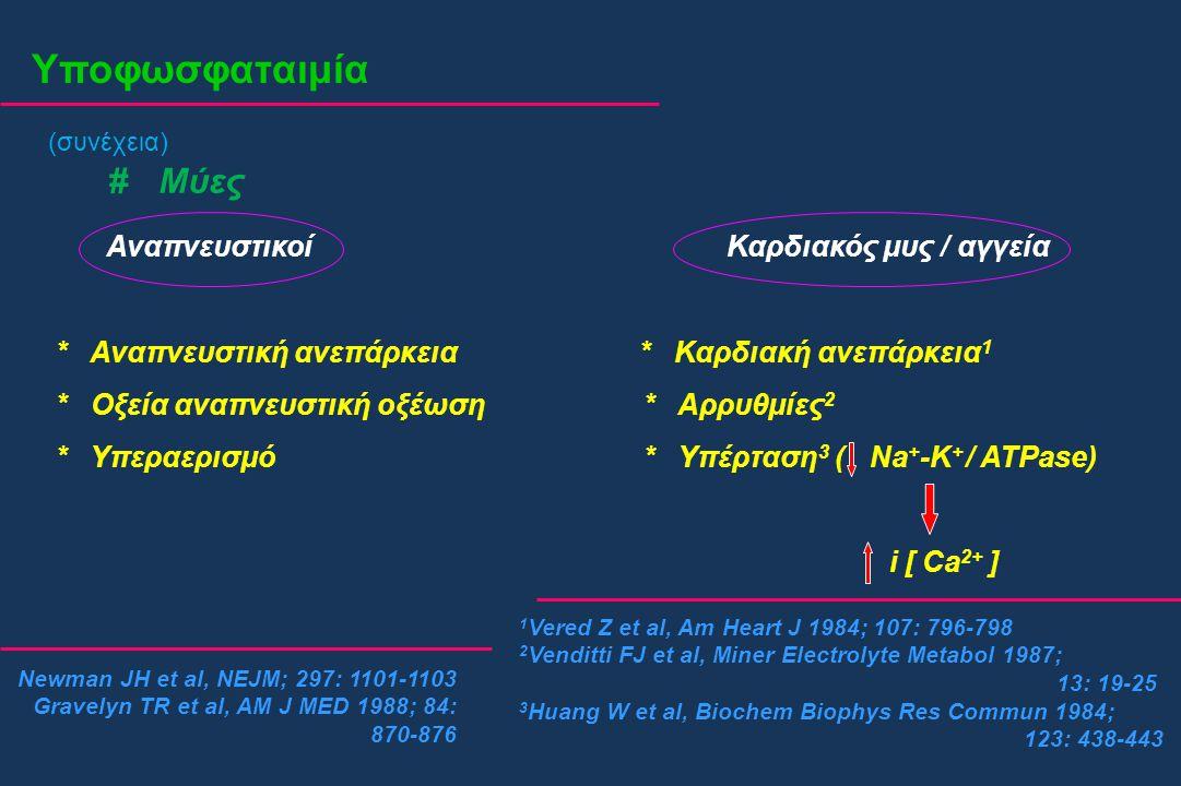 Υποφωσφαταιμία (συνέχεια) # Μύες Αναπνευστικοί Καρδιακός μυς / αγγεία * Αναπνευστική ανεπάρκεια * Καρδιακή ανεπάρκεια 1 * Οξεία αναπνευστική οξέωση *