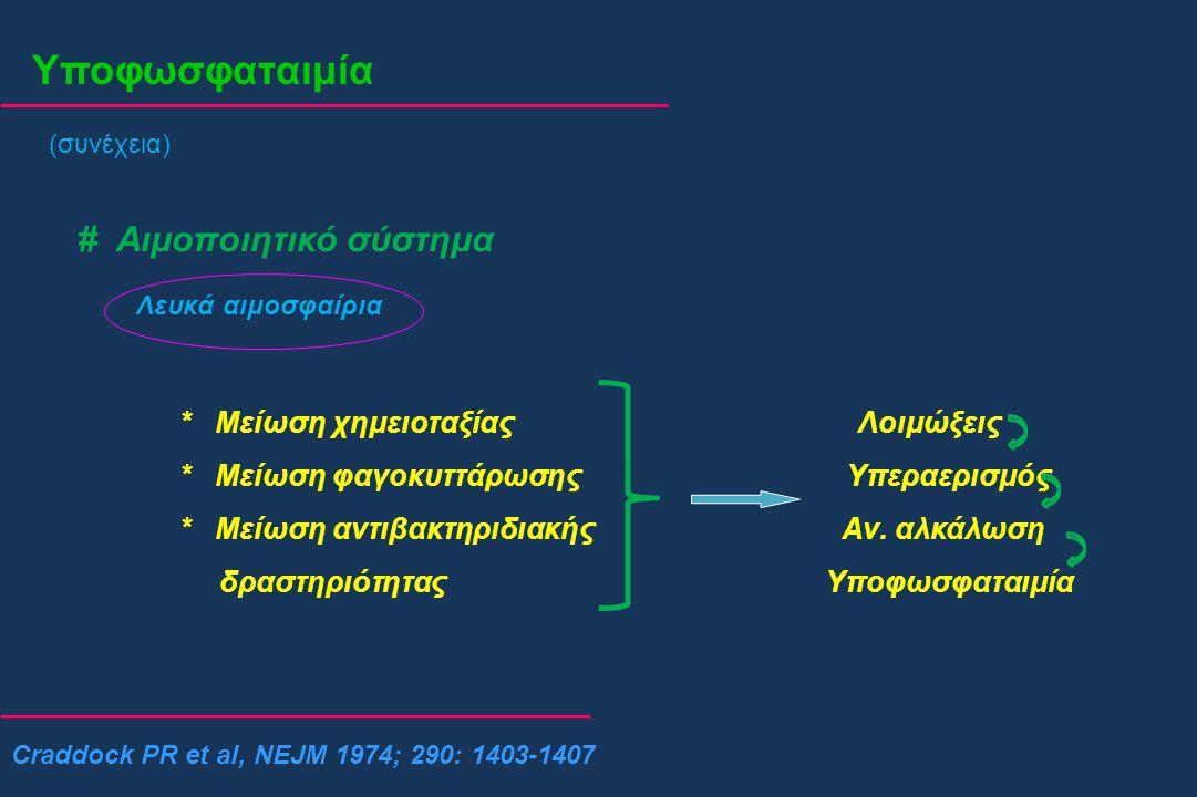 Υποφωσφαταιμία (συνέχεια) # Αιμοποιητικό σύστημα Λευκά αιμοσφαίρια * Μείωση χημειοταξίας Λοιμώξεις * Μείωση φαγοκυττάρωσης Υπεραερισμός * Μείωση αντιβ