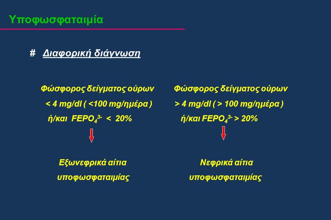 Υποφωσφαταιμία # Διαφορική διάγνωση Φώσφορος δείγματος ούρων Φώσφορος δείγματος ούρων 4 mg/dl ( > 100 mg/ημέρα ) ή/και FEPO 4 3- 20% Εξωνεφρικά αίτια