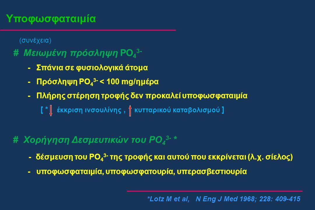 Υποφωσφαταιμία *Lotz M et al, N Eng J Med 1968; 228: 409-415 # Μειωμένη πρόσληψη PO 4 3- - Σπάνια σε φυσιολογικά άτομα - Πρόσληψη PO 4 3- < 100 mg/ημέ
