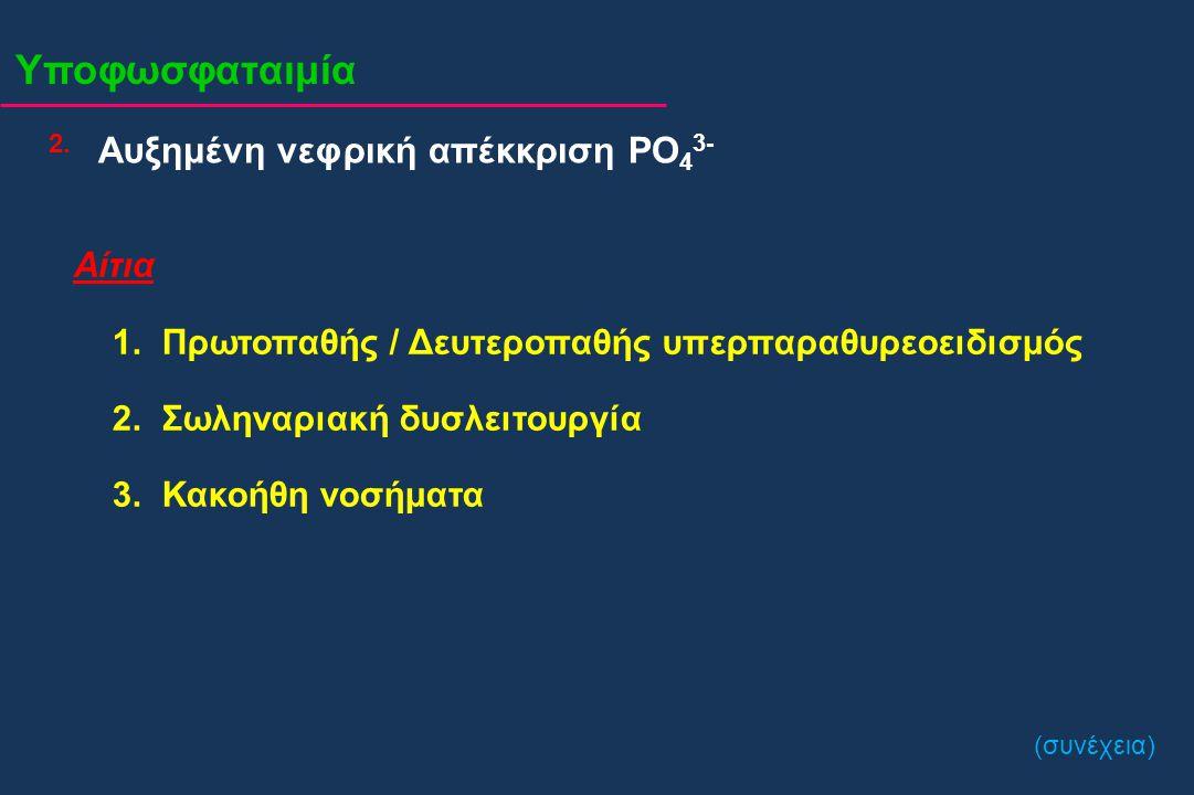 Υποφωσφαταιμία 2.2. Αίτια 1. Πρωτοπαθής / Δευτεροπαθής υπερπαραθυρεοειδισμός 2. Σωληναριακή δυσλειτουργία 3. Κακοήθη νοσήματα Αυξημένη νεφρική απέκκρι
