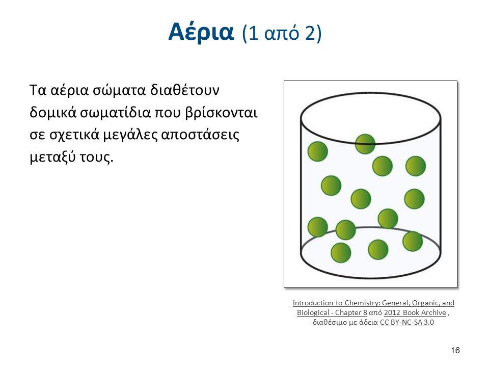 Αέρια (1 από 2) Τα αέρια σώματα διαθέτουν δομικά σωματίδια που βρίσκονται σε σχετικά μεγάλες αποστάσεις μεταξύ τους. Introduction to Chemistry: Genera