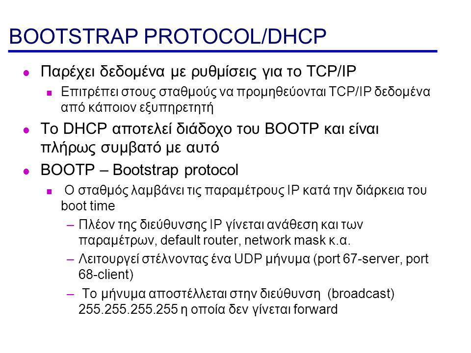 BOOTP Το bootstrap protocol μπορεί να χρησιμοποιηθεί για να φορτώνονται memory images σε σταθμούς που δεν έχουν σκληρό δίσκο