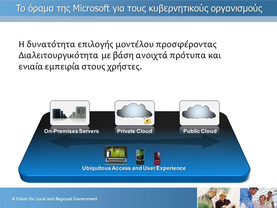 Η δυνατότητα επιλογής μοντέλου προσφέροντας Διαλειτουργικότητα με βάση ανοιχτά πρότυπα και ενιαία εμπειρία στους χρήστες.
