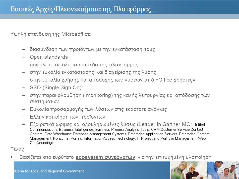 Βασικές Αρχές/Πλεονεκτήματα της Πλατφόρμας… Υψηλή επένδυση της Microsoft σε: –διασύνδεση των προϊόντων με την εγκατάσταση τους –Open standards –ασφάλεια σε όλα τα επίπεδα της πλατφόρμας –στην ευκολία εγκατάστασης και διαχείρισης της λύσης –στην ευκολία χρήσης και αποδοχής των λύσεων από «Office χρήστες» –SSO (Single Sign On).