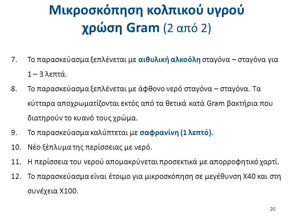 Μικροσκόπηση κολπικού υγρού χρώση Gram (2 από 2) 7.Το παρασκεύασμα ξεπλένεται με αιθυλική αλκοόλη σταγόνα – σταγόνα για 1 – 3 λεπτά. 8.Το παρασκεύασμα
