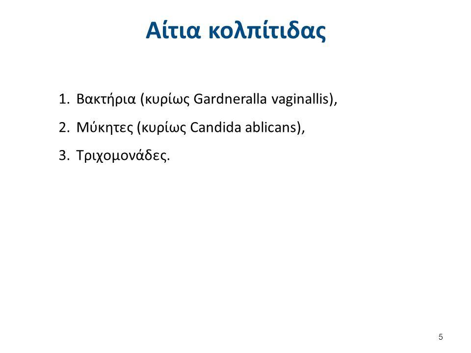 Αίτια κολπίτιδας 1.Βακτήρια (κυρίως Gardneralla vaginallis), 2.Μύκητες (κυρίως Candida ablicans), 3.Τριχομονάδες. 5