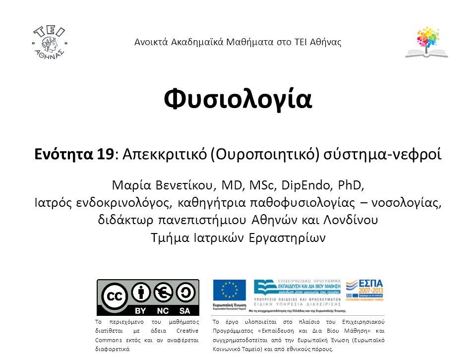 Φυσιολογία Ενότητα 19: Απεκκριτικό (Ουροποιητικό) σύστημα-νεφροί Mαρία Bενετίκου, MD, MSc, DipEndo, PhD, Ιατρός ενδοκρινολόγος, καθηγήτρια παθοφυσιολο