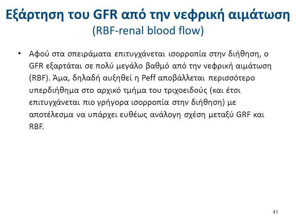 Εξάρτηση του GFR από την νεφρική αιμάτωση (RBF-renal blood flow) Αφού στα σπειράματα επιτυγχάνεται ισορροπία στην διήθηση, ο GFR εξαρτάται σε πολύ μεγ