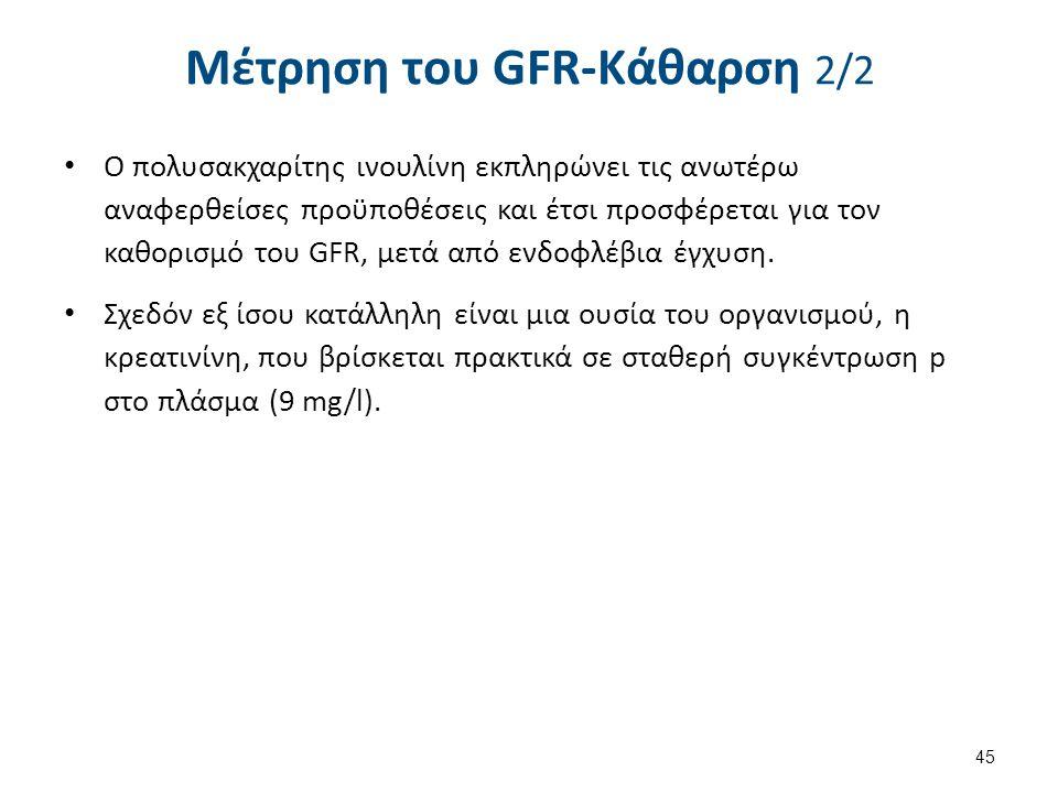 Μέτρηση του GFR-Κάθαρση 2/2 Ο πολυσακχαρίτης ινουλίνη εκπληρώνει τις ανωτέρω αναφερθείσες προϋποθέσεις και έτσι προσφέρεται για τον καθορισμό του GFR,