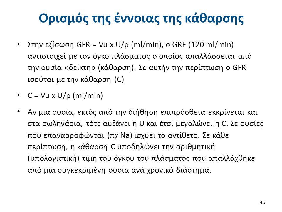 Ορισμός της έννοιας της κάθαρσης Στην εξίσωση GFR = Vu x U/p (ml/min), ο GRF (120 ml/min) αντιστοιχεί με τον όγκο πλάσματος ο οποίος απαλλάσσεται από