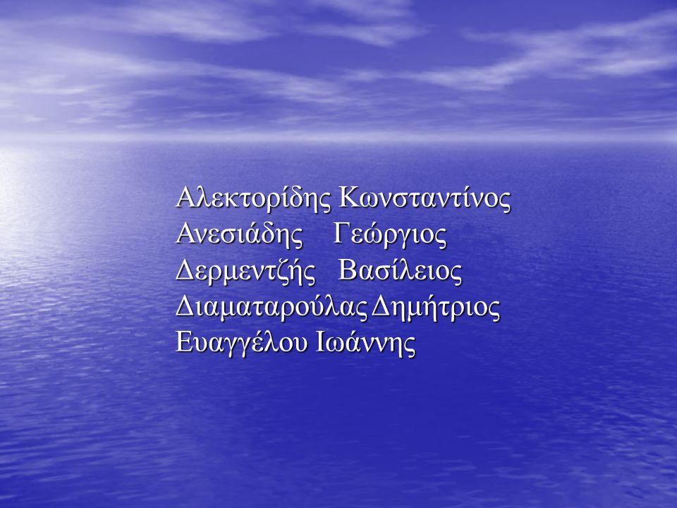 Αλεκτορίδης Κωνσταντίνος Ανεσιάδης Γεώργιος Δερμεντζής Βασίλειος Διαματαρούλας Δημήτριος Ευαγγέλου Ιωάννης