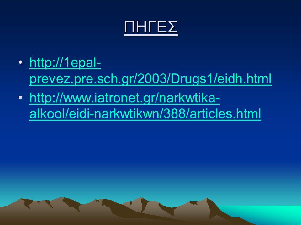 ΠΗΓΕΣ http://1epal- prevez.pre.sch.gr/2003/Drugs1/eidh.htmlhttp://1epal- prevez.pre.sch.gr/2003/Drugs1/eidh.html http://www.iatronet.gr/narkwtika- alkool/eidi-narkwtikwn/388/articles.htmlhttp://www.iatronet.gr/narkwtika- alkool/eidi-narkwtikwn/388/articles.html