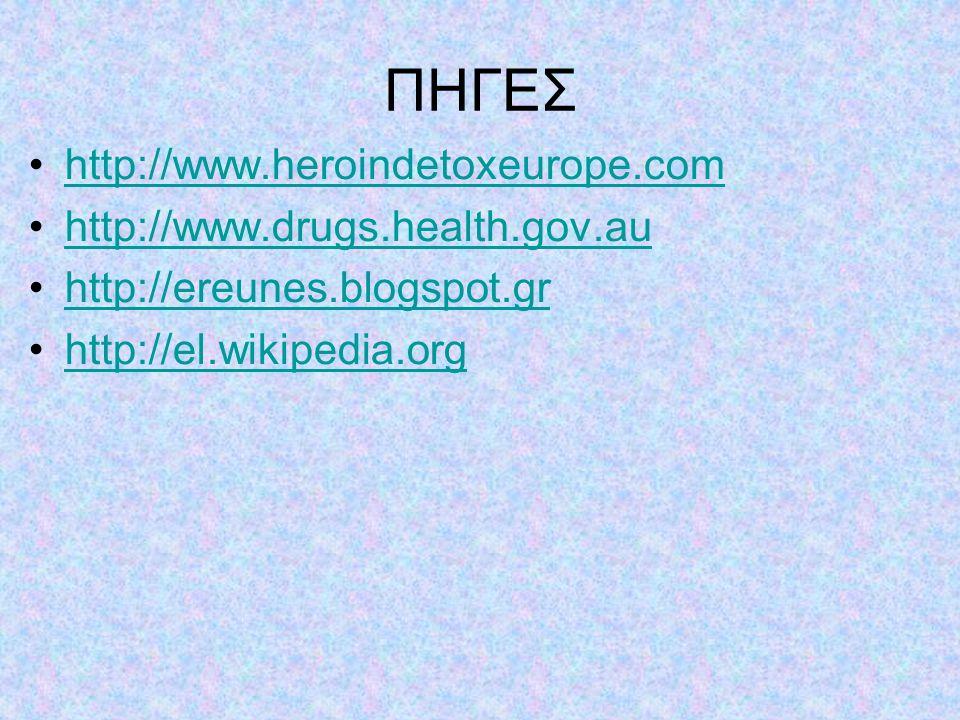 ΠΗΓΕΣ http://www.heroindetoxeurope.com http://www.drugs.health.gov.au http://ereunes.blogspot.gr http://el.wikipedia.org