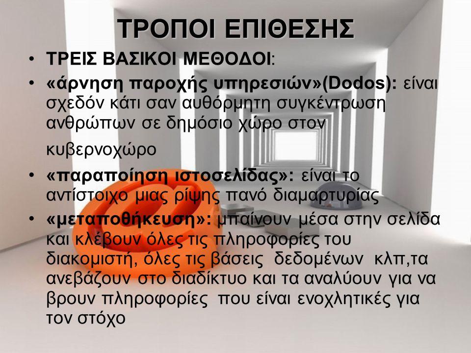 ΤΡΟΠΟΙ ΕΠΙΘΕΣΗΣ ΤΡΕΙΣ ΒΑΣΙΚΟΙ ΜΕΘΟΔΟΙ: «άρνηση παροχής υπηρεσιών»(Dodos): είναι σχεδόν κάτι σαν αυθόρμητη συγκέντρωση ανθρώπων σε δημόσιο χώρο στον κυ