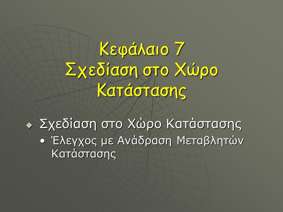 Κεφάλαιο 7 Σχεδίαση στο Χώρο Κατάστασης  Σχεδίαση στο Χώρο Κατάστασης Έλεγχος με Ανάδραση Μεταβλητών ΚατάστασηςΈλεγχος με Ανάδραση Μεταβλητών Κατάστασης