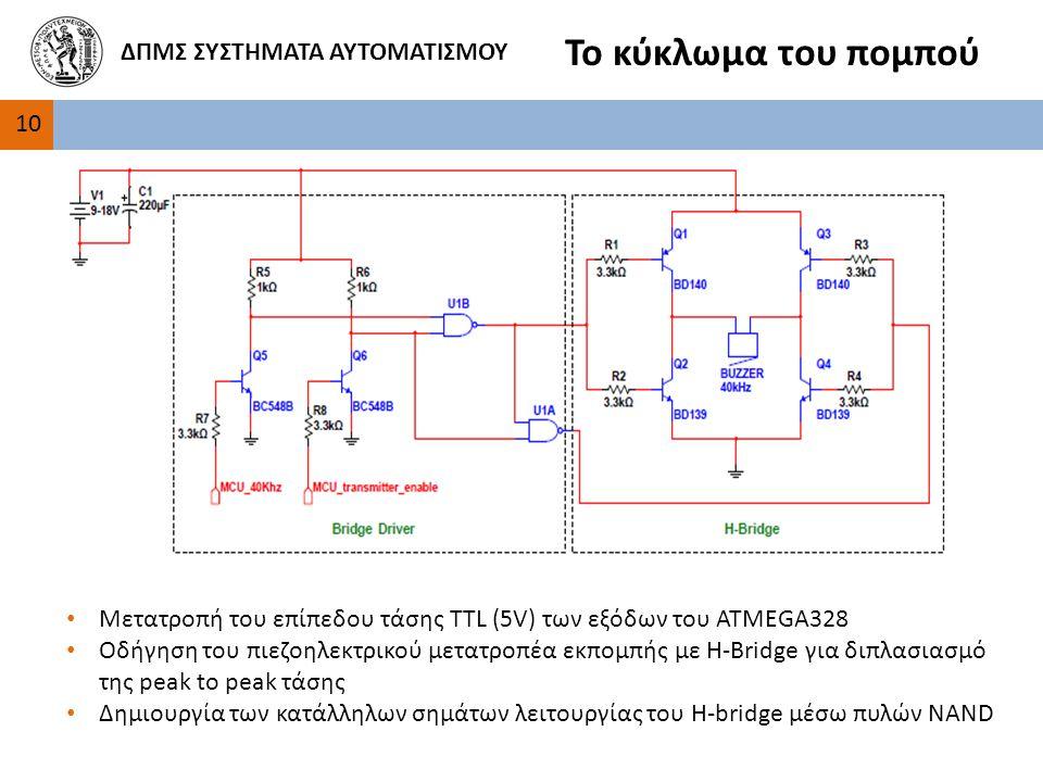 10 ΔΠΜΣ ΣΥΣΤΗΜΑΤΑ ΑΥΤΟΜΑΤΙΣΜΟΥ Το κύκλωμα του πομπού Μετατροπή του επίπεδου τάσης TTL (5V) των εξόδων του ATMEGA328 Οδήγηση του πιεζοηλεκτρικού μετατροπέα εκπομπής με H-Bridge για διπλασιασμό της peak to peak τάσης Δημιουργία των κατάλληλων σημάτων λειτουργίας του H-bridge μέσω πυλών NAND